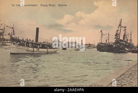 Illustrated photograph of steamboats in Pasig River, Manila, Luzon Island, the Philippines, by photographer Burr McIntosh, published by H. Hagemeister Co, 1905. From the New York Public Library. () - Stock Photo
