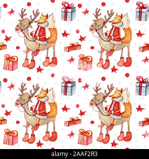 Christmas seamless background with fox. Festive character riding a deer with gift boxes with stars and snowflakes on a white background. - Stock Photo