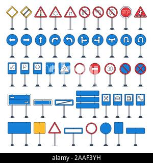 Vector mega set of cartoon road signs with outline. Hand-drawn traffic sign icons isolated on white background - Stock Photo