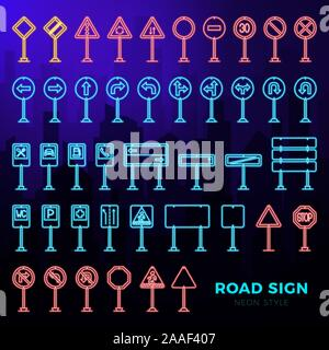 Vector mega set of doodle road signs in neon style. Hand-drawn traffic sign icons isolated on dark city landscape background - Stock Photo