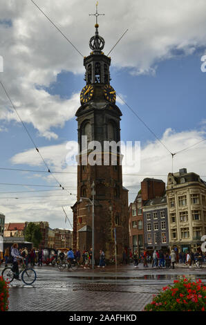 Amsterdam, Holland. August 2019. The mint tower acts as a reference point in the historic center. Even from afar it stands out and makes itself known. - Stock Photo