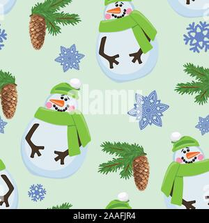 Seamless pattern with snowman and fir branches, snowflakes. Vector illustration. - Stock Photo