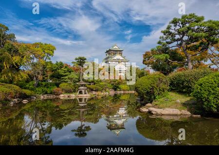 Osaka Castle during Autumn, Japan - Stock Photo