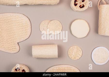 Different Zero Waste Luffa Sponge Concept Of Eco Friendly