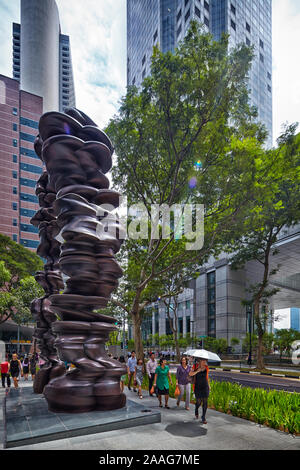 SINGAPORE - JULY 7: British sculptorTony Cragg's Points of View Series (2011) outside One Raffles Place in Singapore on July 7, 2013.  (Photo by Rogan - Stock Photo