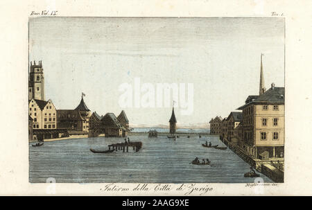 View of the city of Zurich, bridge over the River Limmat and Lake Zurich, Switzerland, early 19th century. Interno della Citta di Zurigo. Handcoloured copperplate engraving by Migliavacca after Giulio Ferrario in his Costumes Ancient and Modern of the Peoples of the World, Il Costume Antico e Moderno, Florence, 1837. - Stock Photo