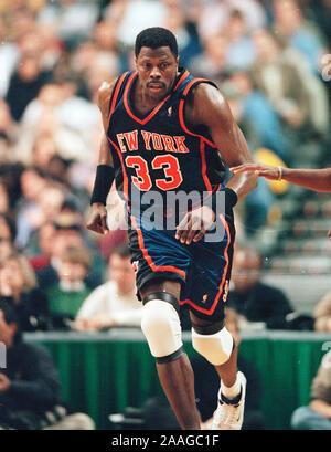 New York Knicks #33 Patrick Ewing during game against the Boston Celtics at the Fleet Center in Boston Ma USA Feb26,1999 photo by bill belknap - Stock Photo
