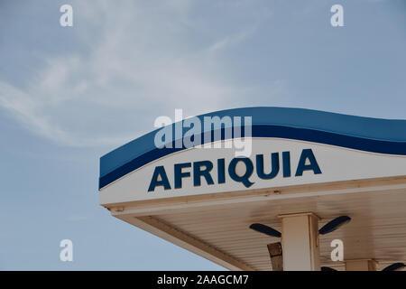 Merzouga, Errachidia / Morocco - 10 03 2019: Afriquia gas station roof - Stock Photo