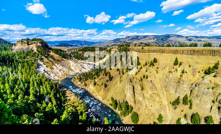 View from Calcite Springs Overlook of the Yellowstone River. At the downstream end of the Grand Canyon of the Yellowstone in Yellowstone Wyoming USA - Stock Photo