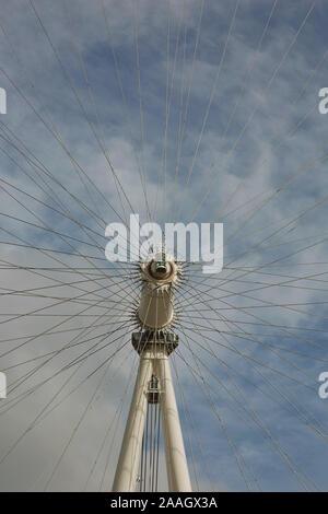 LONDON, UK - SEPTEMBER 08, 2017: The detail of the London Eye ferris wheel on the South Bank of River Thames aka Millennium Wheel. - Stock Photo