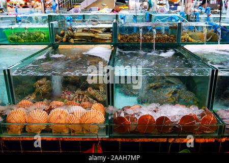 firisches, lebendes Seafood, Meeresfrüchte auf dem Banzaan fresh market, Patong Beach, Phuket, Thailand - Stock Photo