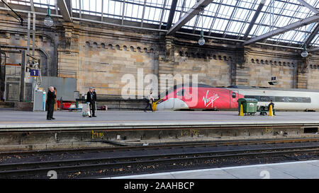 The Class 390 Pendolino is a type of electric high-speed train operated by Virgin Trains. Central station Glasgow. - Stock Photo
