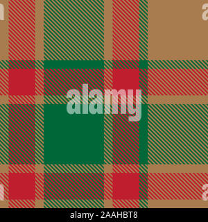 Christmas Plaid Tartan Seamless Pattern in Vector - This is a classic plaid, checkered, tartan pattern suitable for shirt printing - Stock Photo