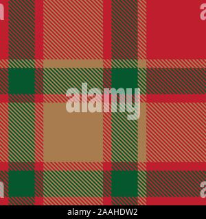 Christmas Plaid Tartan Seamless Pattern in Vector - This is a classic plaid, checkered, tartan pattern suitable for shirt printing, fabric - Stock Photo