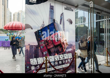 November 22, 2019, Shanghai, Shanghai, China: Shanghai,CHINA-China's first pop-up store for ''PLAYERUNKNOWN'S BATTLEGROUNDS'' hits a commercial square in Huangpu district, Shanghai, Nov. 21, 2019.The pop-up store has multiple functional divisions, including the fashion culture display area, commodity sales area and VR interaction area.Not only are there many peripherals, accessories and fashion items available for fans to choose from, but the huge ''three-head'' PUBG armor is also eye-catching. (Credit Image: © SIPA Asia via ZUMA Wire) - Stock Photo