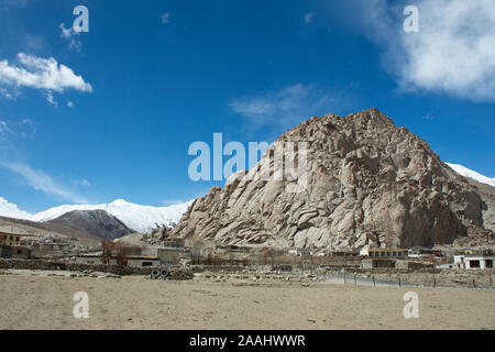 JAMMU KASHMIR, INDIA - MARCH 20 : View landscape and cityscape of Tsati village in Nubra lake valley on Khardung La Road go to Pangong lake at Leh Lad - Stock Photo