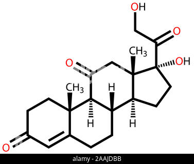 Cortisone structural formula - Stock Photo