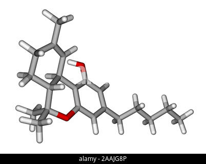 Tetrahydrocannabinol sticks molecular model - Stock Photo