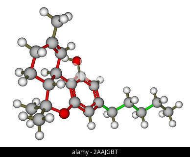 Tetrahydrocannabinol molecular model - Stock Photo