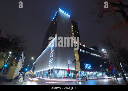 Valkea shopping centre with christmas lights, Oulu, Finland - Stock Photo