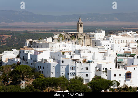 View over the hilltop town with the Iglesia Divino Salvador, Vejer de la Frontera, Cadiz province, Andalucia, Spain, Europe - Stock Photo