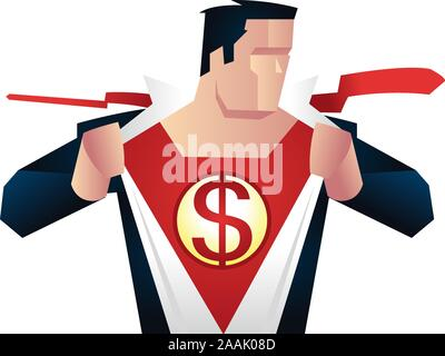 Superhero with dollar sign on his chest, with red superhero costume under blue office working suit vector illustration. Ready to work superhero chairm - Stock Photo