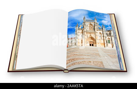 3D render of an opened photo book whit the facade of Batalha cathedral in Portugal (Europe) - image with copy space - I'm the copyright owner of the i - Stock Photo
