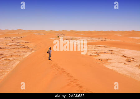 Erg Chigaga sand dunes, Sahara desert. Morocco - Stock Photo