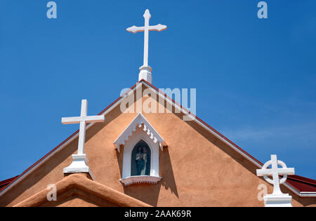 San Felipe De Neri Church, built in 1793 and the only building in Old Town Albuquerque New Mexico that dates back to the Spanish colonial period. Stock Photo