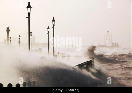 Blackpool being battered by storms on the 18th January 2007 that killed 13 people across the UK in the hurricane force winds. I had to hold onto a lam - Stock Photo