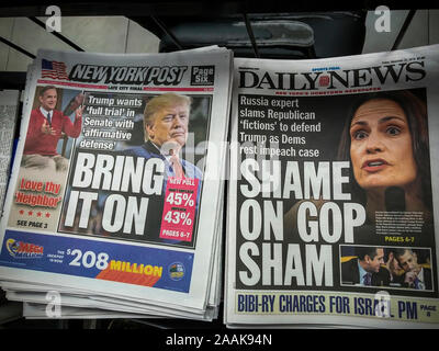 Headlines of the NY Daily News and the NY Post on Friday, November 22, 2019 report on the Congressional impeachment hearings, which has its last day on Thursday. (© Richard B. Levine) - Stock Photo