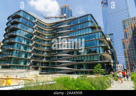 New York, USA - August 20, 2018 View of the 520 West 28th Street Condominium Residences designed by architect Zaha Hadid along the High Line. - Stock Photo