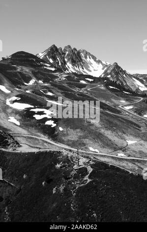 Paragliding view from Spieljoch in the Zillertal valley in Tirol - Stock Photo