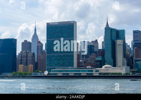 New York, USA - August 20, 2018: the United Nations headquarters viewed from Roosevelt Island in New York, NY. - Stock Photo