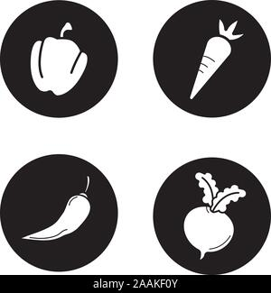 Vegetables black icons set. Bell pepper, carrot, chilli and beet. Vector white illustrations in circles - Stock Photo