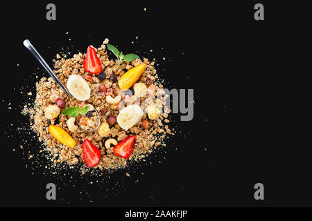 banana split, overnight oats, oatmeal, banana smoothie bowl, acai bowls, greek yogurt parfait, peanut butter - Stock Photo