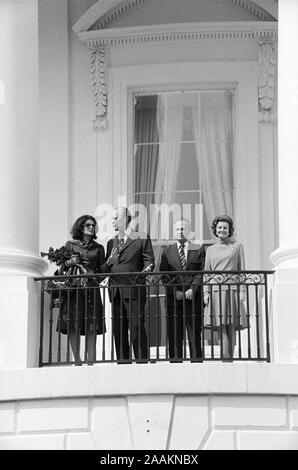 Leah Rabin, U.S. President Gerald Ford, Prime Minister Yitzhak Rabin of Israel, First Lady Betty Ford, White House Balcony, Washington, D.C., USA, photograph by Thomas J. O'Halloran, September 10, 1974