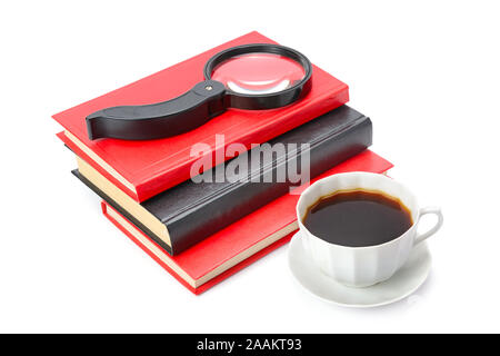 Books, a cup of coffee and magnifier isolated on white background - Stock Photo