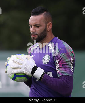 SÃO PAULO, SP - 22.11.2019: TREINO DO PALMEIRAS - Goalkeeper Weverton of SE Palmeiras during training at the Football Academy. (Photo: Cesar Greco/Fotoarena) - Stock Photo