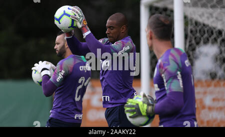 SÃO PAULO, SP - 22.11.2019: TREINO DO PALMEIRAS - Goalkeeper Jailson of SE Palmeiras during training at the Football Academy. (Photo: Cesar Greco/Fotoarena) - Stock Photo