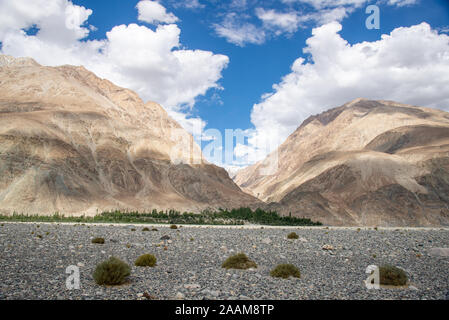 view of Himalayas in Nubra valley, Ladakh, India - Stock Photo