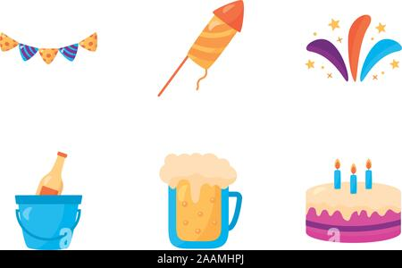 bundle of party celebration icons - Stock Photo