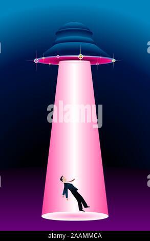 Alien spaceship abducting a man illustration - Stock Photo