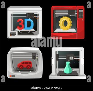 3D Printer Set, with computer software, computer three dimensional set. Digitally generated image vector illustration cartoon. - Stock Photo