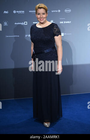 Cologne, Germany. 22nd Nov, 2019. Franziska Giffey, Federal Minister for Family Affairs, Senior Citizens, Women and Youth (SPD), will attend the German Sustainability Awards 2019. Credit: Henning Kaiser/dpa/Alamy Live News - Stock Photo