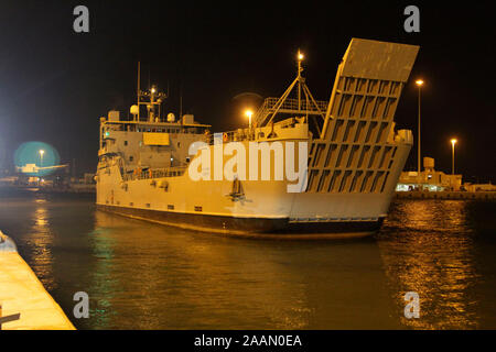 Army Logistics Support Vessel MG Charles P. Gross (LSV 5) arrives at Shuaiba Port, Kuwait, Nov. 20, 2019. Soldiers of the 1188th Deployment and Distribution Support Battalion (DDSB) will work with other country national port workers to load cargo aboard the LSV-5 for transport. (U.S. Army Reserve photo by Spc. Dakota Vanidestine) - Stock Photo