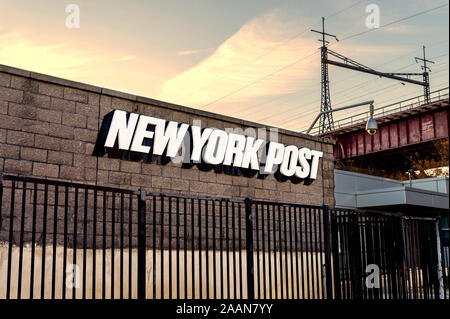 Bronx, NY/USA - 11/09/2019: The New York Post Building on East 132nd Street in the Bronx - Stock Photo
