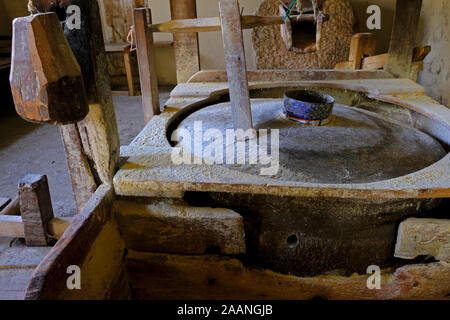 wood equipment of a working water mill in tonya trabzon turkey - Stock Photo