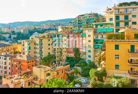 Residential buildings in Genoa, Genova, Italy - Stock Photo