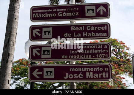A Havana road traffic sign of local monument attractions in Havana, Cuba - Stock Photo